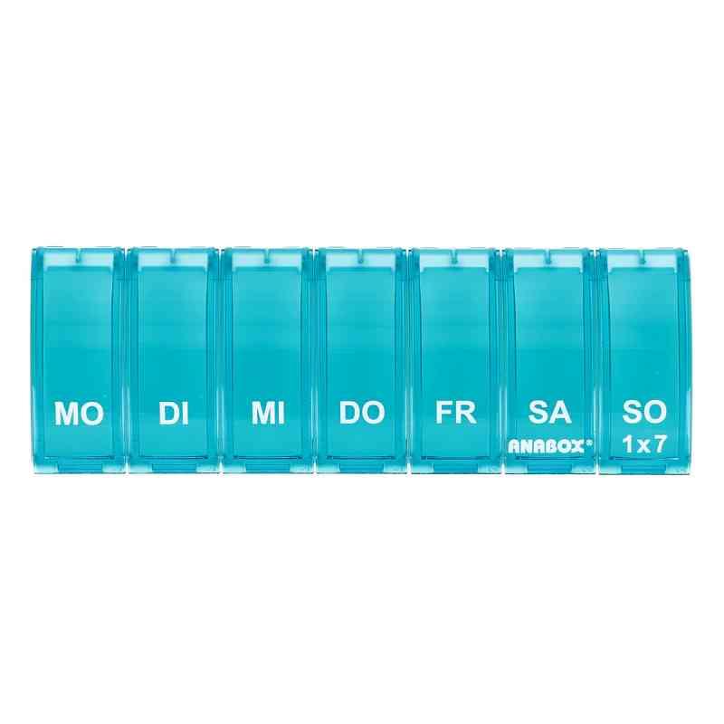 Anabox 1x7 pojemnik na leki tygodniowy turkusowy 1 szt. od WEPA Apothekenbedarf GmbH & Co K PZN 05986810
