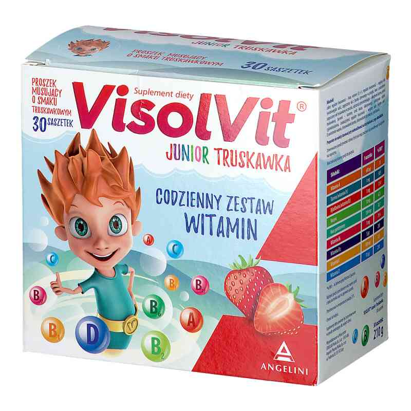 Visolvit Junior proszek musujący o smaku truskawkowym  zamów na apo-discounter.pl