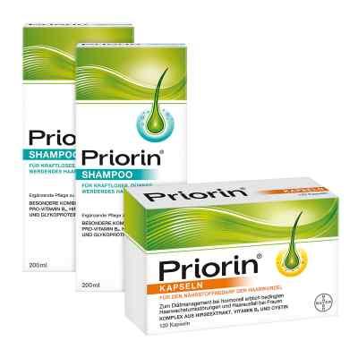 Zestaw Priorin, 2x szampon 200 ml + kapsułki 120 szt.